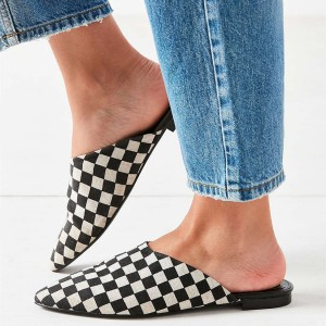 Women's Black and White Mule Comfortable Flats