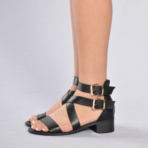 Women's Black Ankle Buckle Strappy Open Toe Chunky Heels Sandals