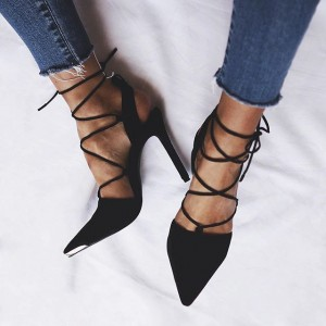 Women's Black Ankle Strap Sandals Slingback Stiletto Pointy Toe Heels