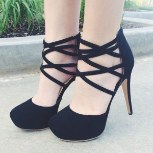 Black Suede Strappy Heels Closed Toe Sandals Platform High Heels