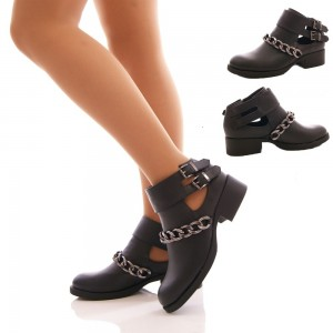 Women's Black Buckles Chunky Heel Ankle Booties with Chain