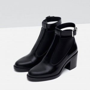 Women's Black Casual Boots Round Toe Buckle Ankle Boots