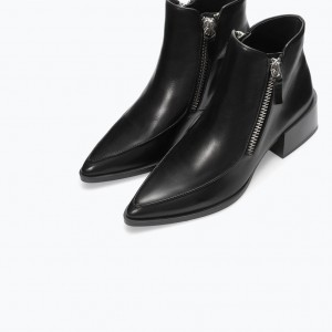 Black Low Heeled Boots Pointy Toe Work Ankle Boots for Women