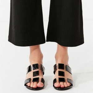 Women's Black Comfortable Flats Open Toe Mule Sandals Clear Shoes