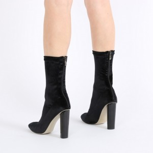Black Fashion Boots Cylindrical Heel Velvet Mid Calf Boots