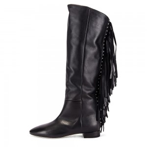 Women's Black Fashion Boots Pointy Toe Fringe Boots