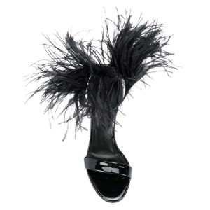Women's Black Feather Chunky Heel Sandals by FSJ