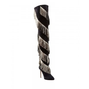 Women's Black Fringe Boots Platform Thigh High Heel Boots