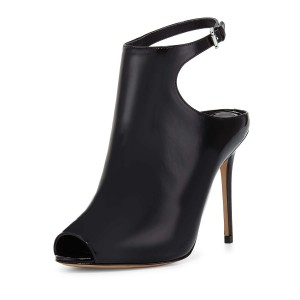 Women's Black Peep Toe Stiletto Heels Slingback Ankle Booties