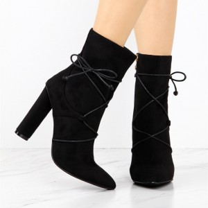 Women's Black Lace Up Boots Fashion Suede Chunky Heels Ankle Boots
