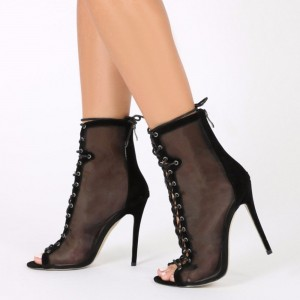 Women's Black Lace Up Boots Stilettos Peep Toe Heels Shoes