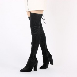 Women's Black Long Boots Chunky Heels Thigh-high Boots by FSJ Shoes