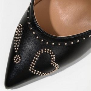Women's Black Office Heels Pointy Toe Stiletto Heels with Studs