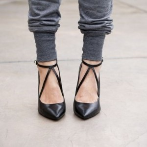 Women's Black Pointed Toe Ankle Straps Stiletto Heels Pumps Shoes