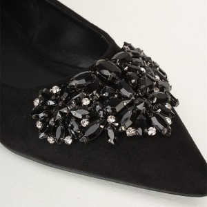 Women's Black Pointy Toe Comfortable Flats with Rhinestone