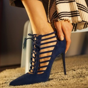 Women's Navy Pointy Toe Stiletto Heels Lace up Pumps