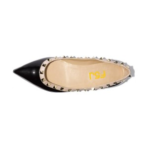 Women's Black Rivet Patent Leather Pointed Toe Comfortable Flats