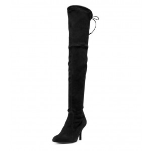 Women's Black Sexy Thigh High Boots Round Toe Suede Fashion Boots