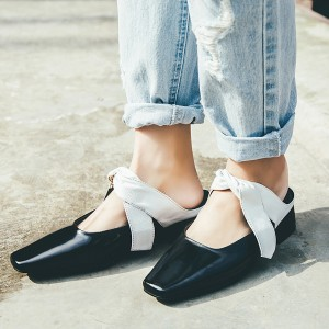 Women's Black Square toe Shoes Strap Flats Vintage Shoes