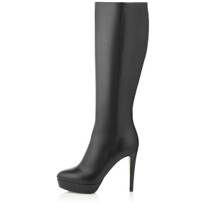 Women's Black Stiletto Boots Almond Toe Platform Heels Mid-Calf Boots