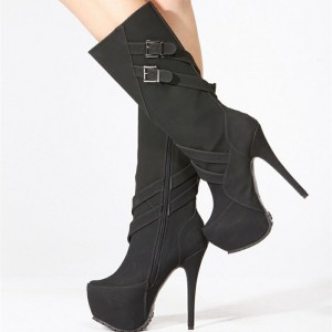 Women's Black Stiletto Heels Buckle Almond Toe Platform Mid-Calf Boots