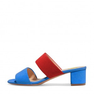 Women's Blue and Red Open Toe Mule Chunky Heel Sandals