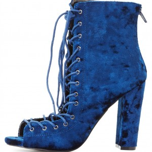 Blue Velvet Lace up Boots Chunky Heel Peep Toe Ankle Booties