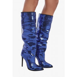 Women's Blue Mirror Stiletto Heels Knee Boots