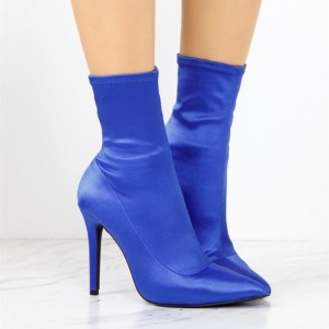 Fashion Blue Satin Stiletto Boots Elastic Pointy Toe Ankle Boots