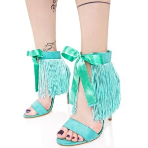 Turquoise Stiletto Heels Ankle Strap Fringe Sandals with Bow