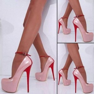 62fa0fb9b62 ... Women s Blush Platform Heels Patent Leather Ankle Strap Pumps