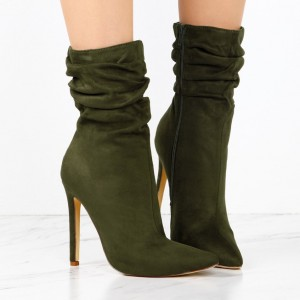 Women's Bottle Green 4 Inch Stiletto Heels Fashion Suede Ankle Boots