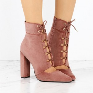 Women's Brick Red Lace Up Boots Suede Retro Chunky Heels Ankle Boots