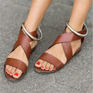 Women's Brown Comfortable Flats Sandals With Silver Ankle Loop