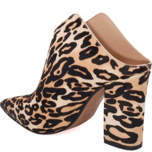 Women's Brown Leopard Print Mule Pointed Toe Block Heels Pumps