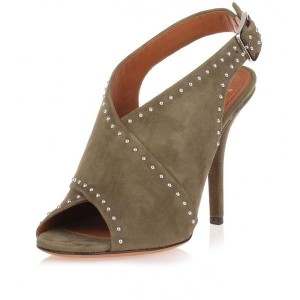 Women's Taupe Stiletto Heels Suede Slingback Sandals with Studs