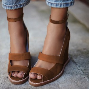 Women's Brown Wedge Heels Peep Toe Ankle Strap Sandals
