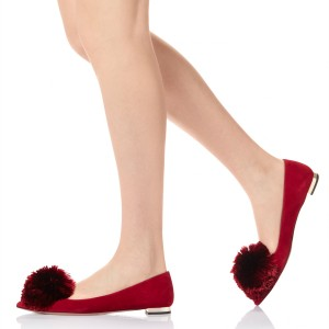 Red Cute Pom Pom Shoes Suede Pointy Toe Flats US Size 3-15
