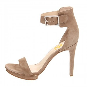 Women's Camel Suede Buckle Stiletto Heel Ankle Strap Sandals