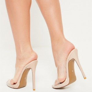 Women's Clear Cross Over Peep Toe  Mule Stiletto Heel Sandals