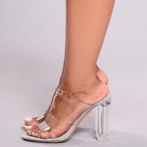 Women's Clear Cut Out Open Toe Mule Chunky Sandals