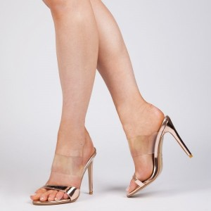 Women's Rose Gold Clear Heels Mule Open Toe Stilettos Sandals