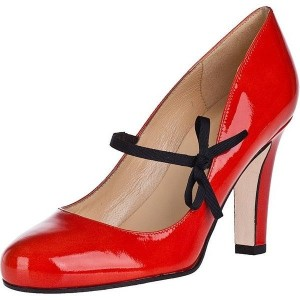 Women's Coral Red Chunky Heels Patent Leather Vintage Lace Up Shoes