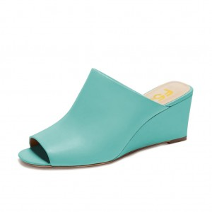 Women's Cyan 3 Inch Heels Mule Peep Toe Wedge Sandals