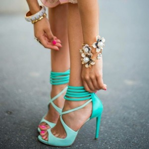 Women's Cyan Cross Ankle Strap Sandals Peep Toe Stiletto Heels