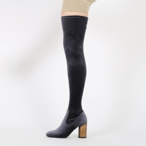 Women's Dark Grey Long Boots Suede Chunky Heel Thigh-high Boots
