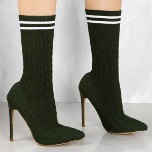 Women's Deep Green Fashion Boots Stiletto Heels Tight Ankle Boots