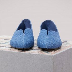 Women's Denim Pointy Toe Flats Comfortable Shoes