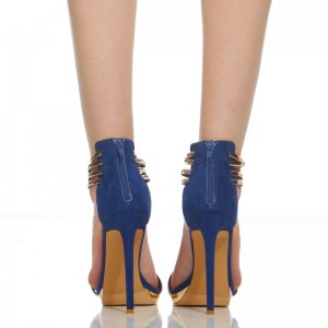 Cobalt Blue Shoes Metal Ankle Strap Stiletto Heel Closed Toe Sandals