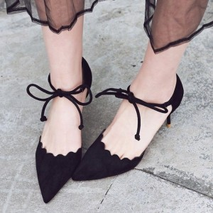 Black Suede Lace up Heels Pointy Toe Trendy Kitten Heel Pumps